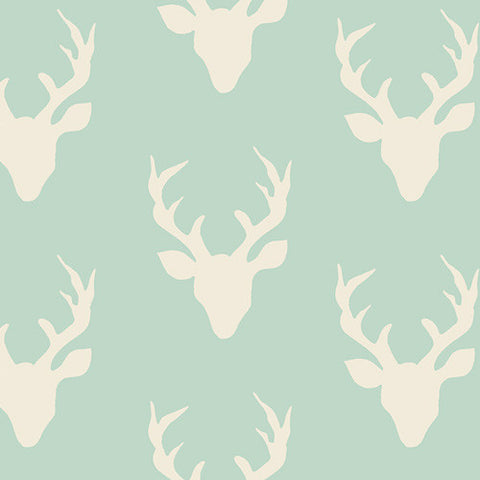 Hello, Bear - Buck Forest Mint - Thread Count Fabrics - Art Gallery Fabrics