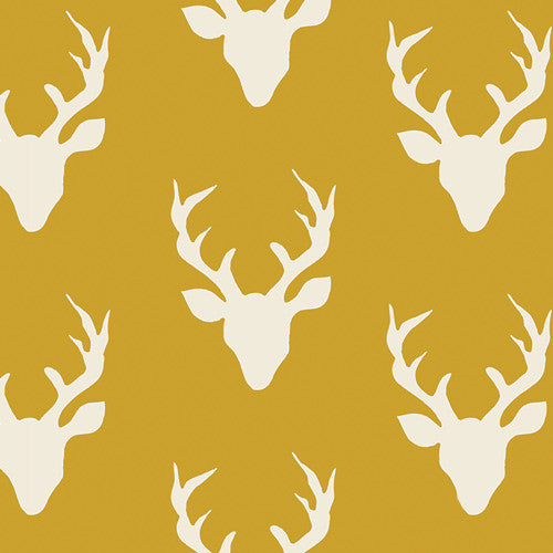 Hello, Bear - Buck Forest Mustard Knit - Thread Count Fabrics - Art Gallery Fabrics