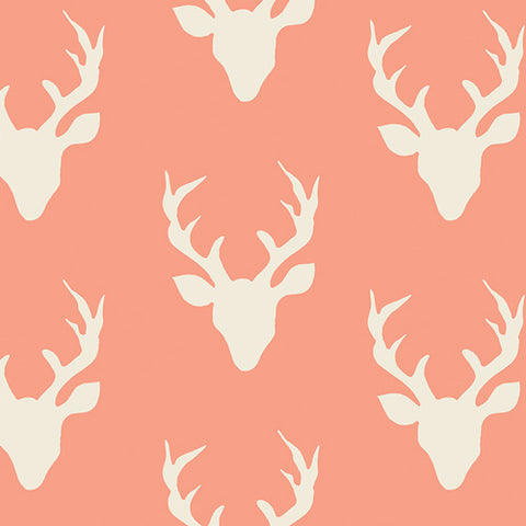 Hello, Bear - Buck Forest Coral - Thread Count Fabrics - Art Gallery Fabrics