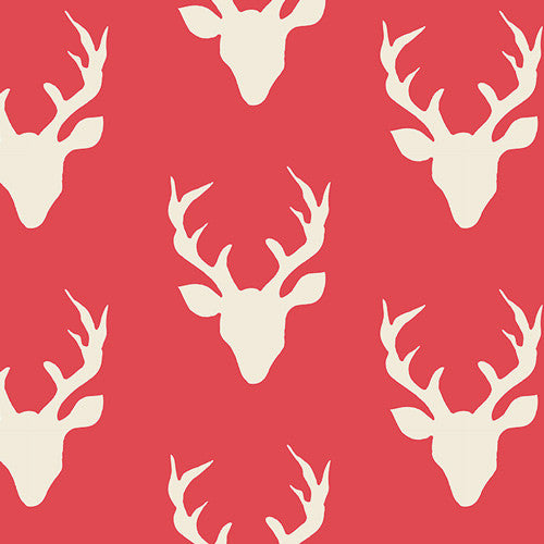 Hello, Bear - Buck Forest Carmine - Thread Count Fabrics - Art Gallery Fabrics