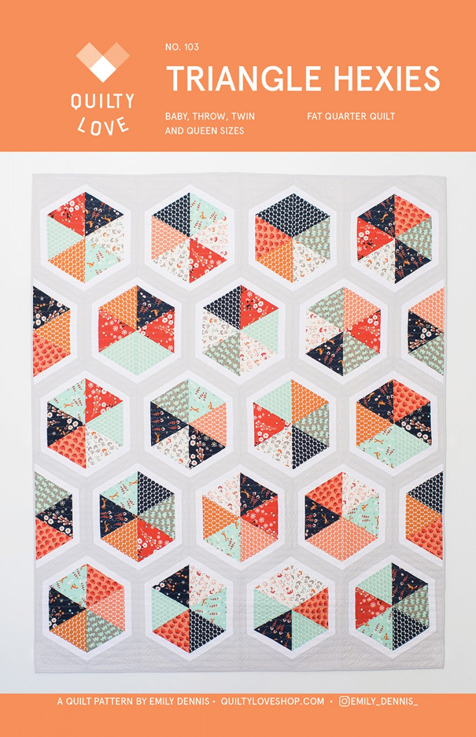 Triangle Hexies Quilt Pattern