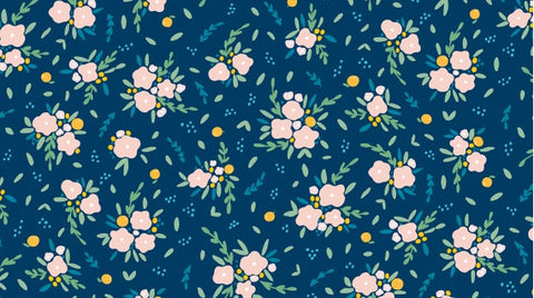 Fresh Dew - Blooming Bouquet Navy - Thread Count Fabrics - Dear Stella
