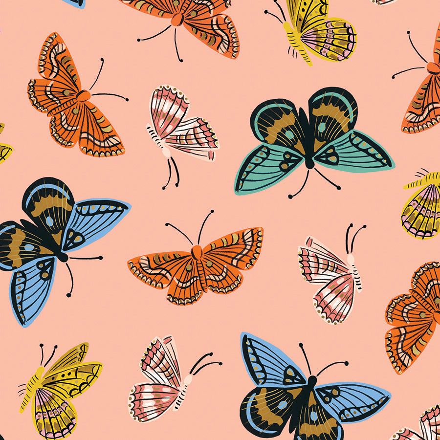 English Garden - Monarch Peach | Cotton Lawn (Metallic)