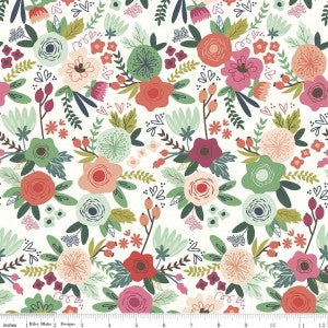 On Trend - Main Floral White - Thread Count Fabrics - Riley Blake Designs