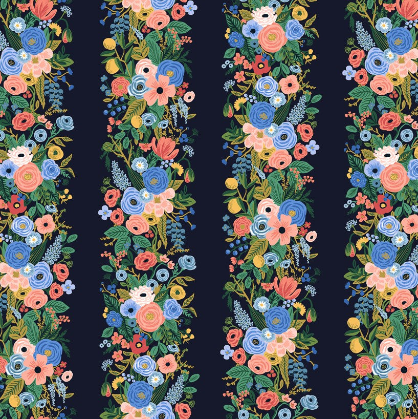 Wildwood - Garden Party Vines Blue | Rayon
