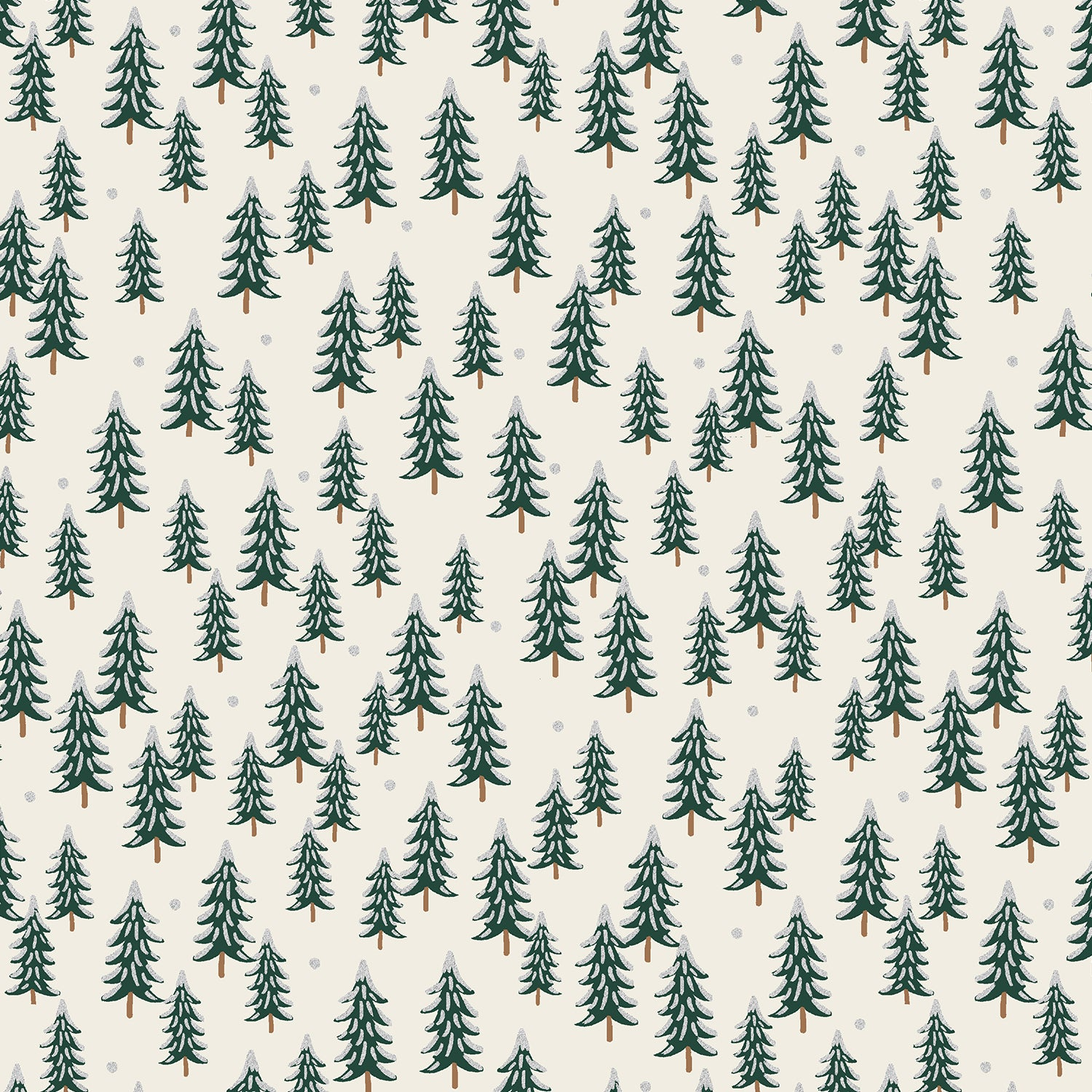 Holiday Classics - Fir Trees - Silver Metallic