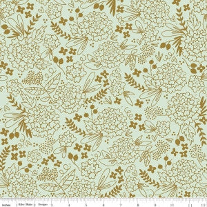 On Trend - Floral Mint in Sparkle Cotton - Thread Count Fabrics - Riley Blake Designs