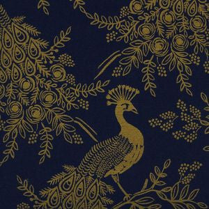 Menagerie - Royal Peacock Navy | Canvas (Metallic)