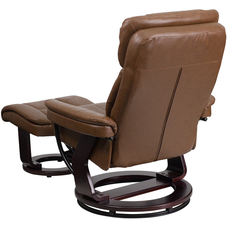 Contemporary Palimino Leather Recliner and Ottoman with Swiveling Mahogany Wood Base