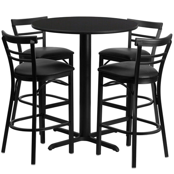 No need to buy in pieces, this complete Bar Height Table and Stool set will save you time! This set includes an elegant Black Laminate Table Top, X-Base and 4 Metal Ladder Back Bar Stools. Use this setup in Bars, Banquet Halls, Restaurants, Break Room/Cafeteria Settings or any other social gathering. Mix in Bar Height Tables with standard height tables for a more varied seating selection. This Commercial Grade Table Set will last for years to come with its heavy duty construction.