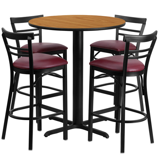 No need to buy in pieces, this complete Bar Height Table and Stool set will save you time! This set includes an elegant Natural Laminate Table Top, X-Base and 4 Metal Ladder Back Bar Stools. Use this setup in Bars, Banquet Halls, Restaurants, Break Room/Cafeteria Settings or any other social gathering. Mix in Bar Height Tables with standard height tables for a more varied seating selection. This Commercial Grade Table Set will last for years to come with its heavy duty construction.