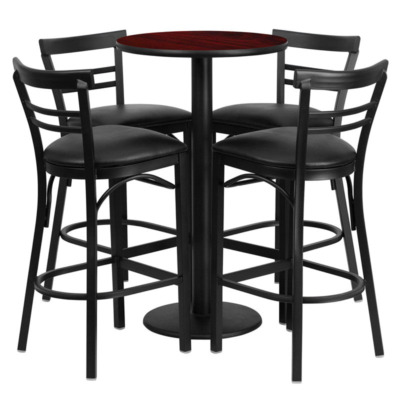 No need to buy in pieces, this complete Bar Height Table and Stool set will save you time! This set includes an elegant Mahogany Laminate Table Top, Round Base and 4 Metal Ladder Back Bar Stools. Use this setup in Bars, Banquet Halls, Restaurants, Break Room/Cafeteria Settings or any other social gathering. Mix in Bar Height Tables with standard height tables for a more varied seating selection. This Commercial Grade Table Set will last for years to come with its heavy duty construction.