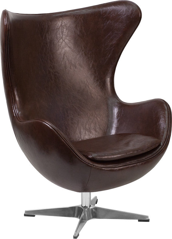 This retro style chair will become everyone's favorite chair whether it is used in the home or office. The Egg Chair can be used in the home, but will add a distinguished look to your office or lobby for guest seating. The design of this chair is a classic mid-20th century design that will conform in any era. This chair features a tilt lock mechanism that offers a comfortable rocking/reclining motion. Chair rotates 360 degrees to provide easy access to a greater range of area. The deep and wide seat and bac
