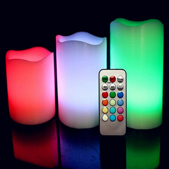 3pcs Color Changing RGB LED Flickering Flameless Paraffin Wax Candles 18keys Remote Controller Wedding Christmas Decor