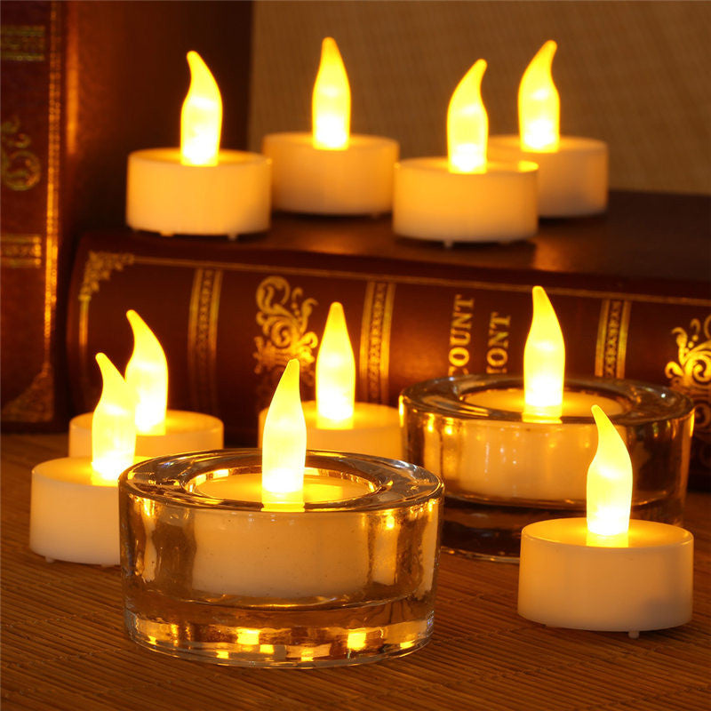 12pcs Battery Powered Flameless LED Tea Light Candle Lamp Flicker Warm White Safety Christmas Wedding Party Home Decor