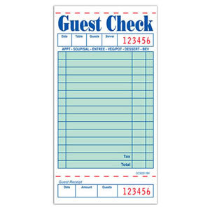 Guest Check, 1 Part Booked
