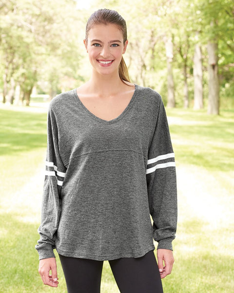 Long Sleeve V Neck Slub Jersey - Discountedrack.com