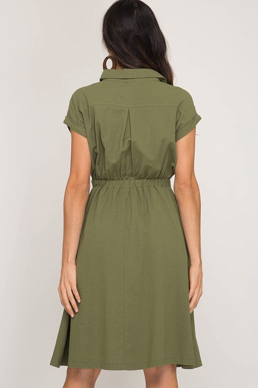 Olive Dress with Pockets