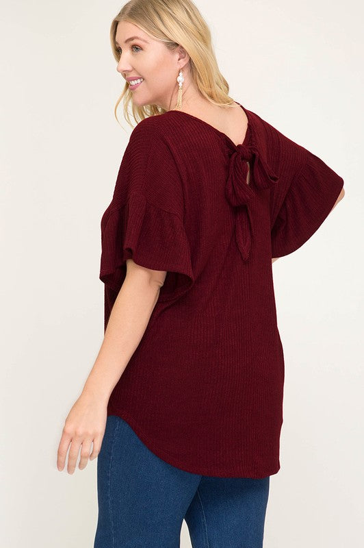 Ribbed Knit Top with Back Tie