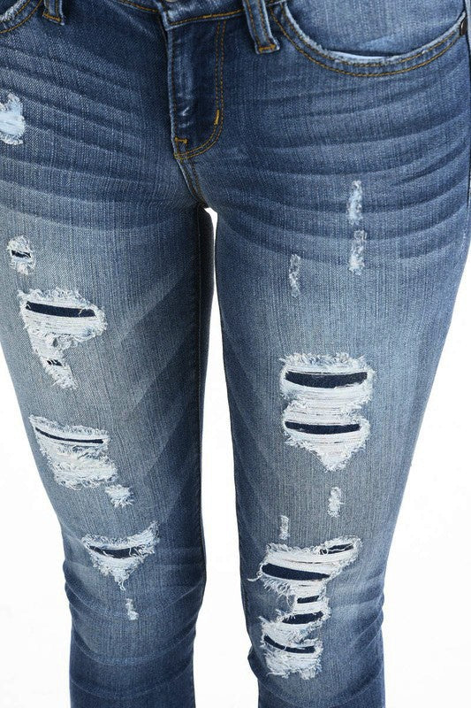 Distressed Patch Denim Jeans