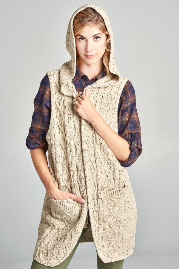 Cable Knit Hoodie Vest