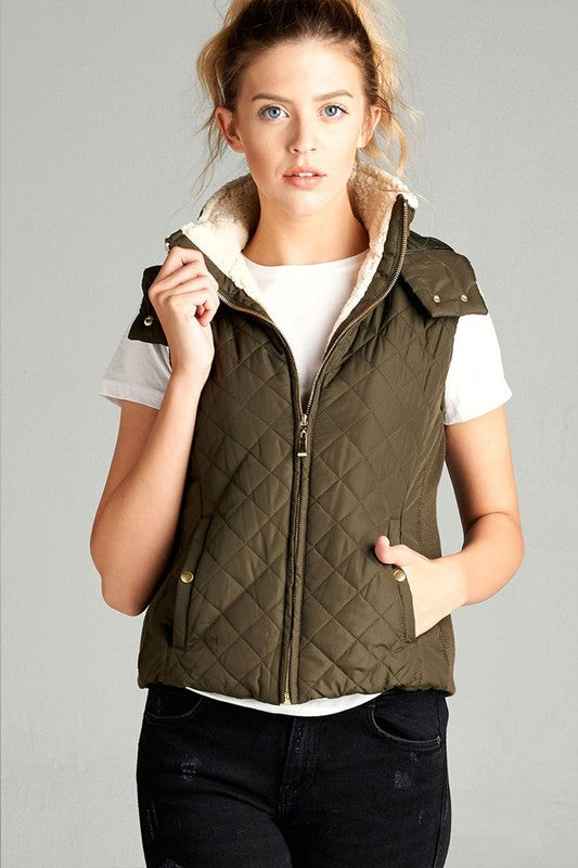 Sherpa Lined Quilted Hooded Vest