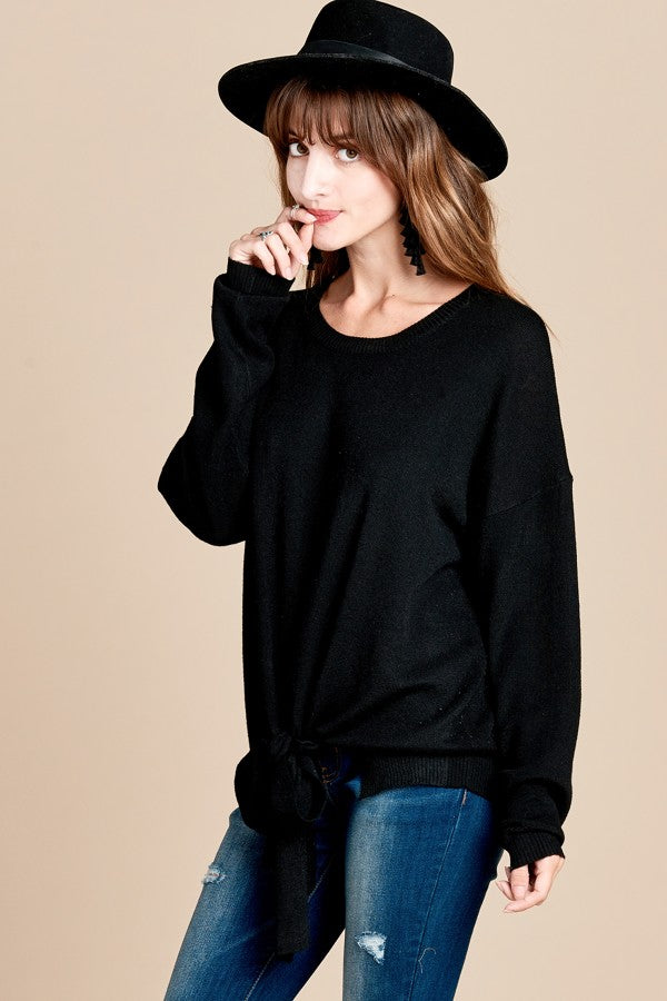 Knit Front Tie Sweater
