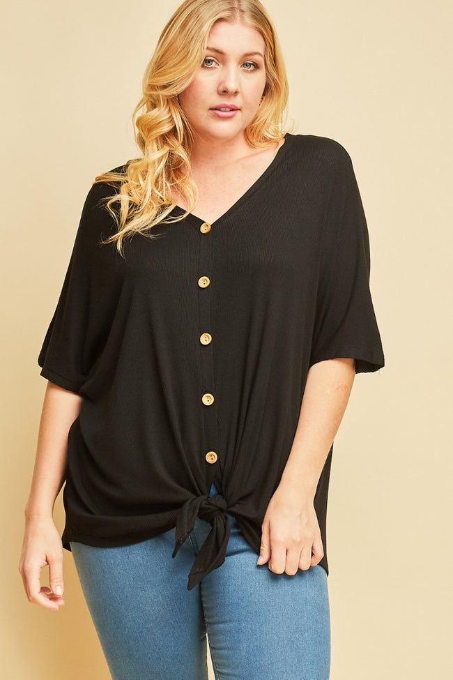 Button Detail Tie Top