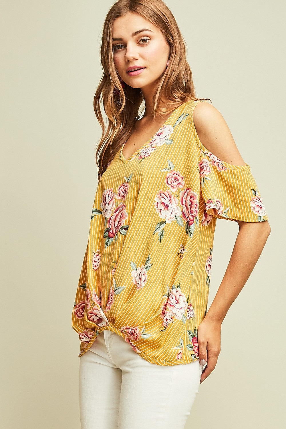 Pin-Striped Floral Top