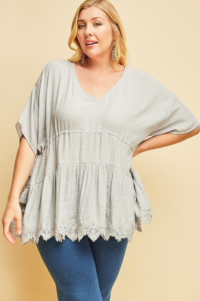 Dove Grey Babydoll  - Cinch Tie