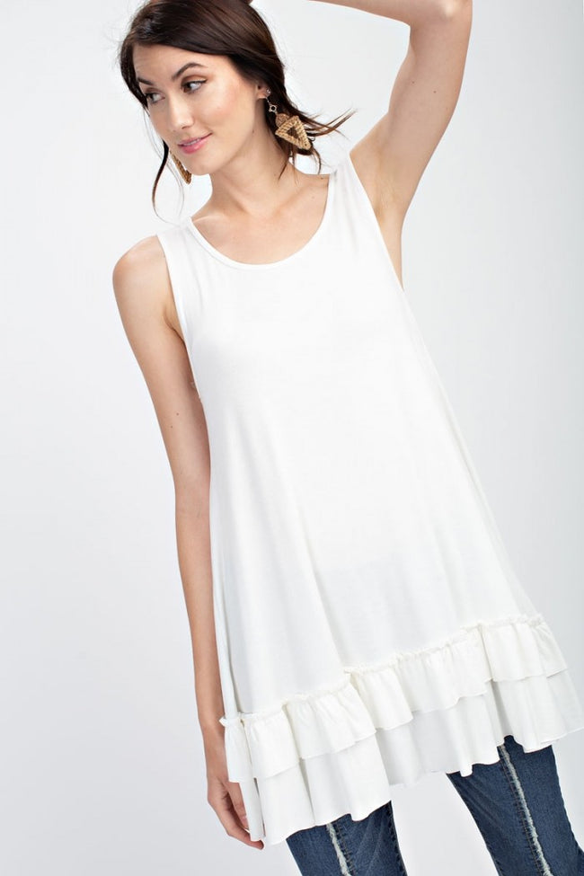 Ruffled Sleeveless Tunic