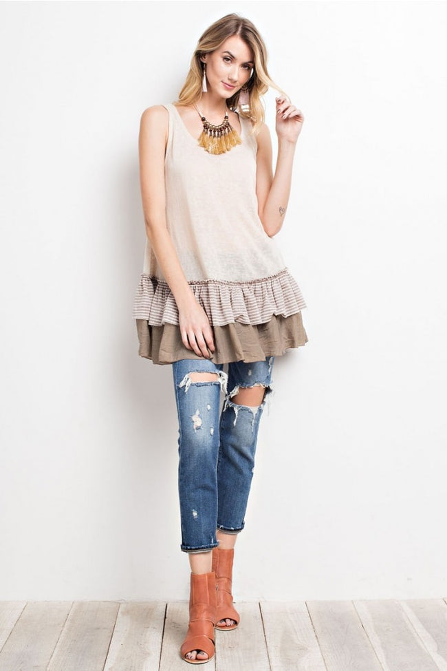 Double Ruffle Sleeveless Tunic