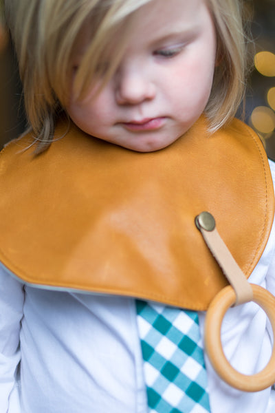 Toddler in Leather Bib