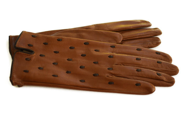 Tan Women's Glove with brown embossed spots