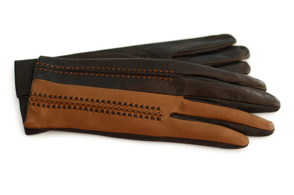 The Salerno-Women's Brown and Tan gloves-Designer gloves