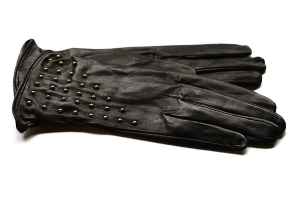 Black leather gloves with brass studs-fashion glove