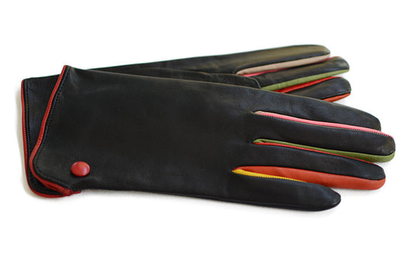 The Carnivale-Black Women's glove-fingers coloured on the side
