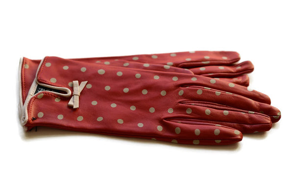 Ladies Red Italian Leather Gloves-winter gloves that are fashionable.