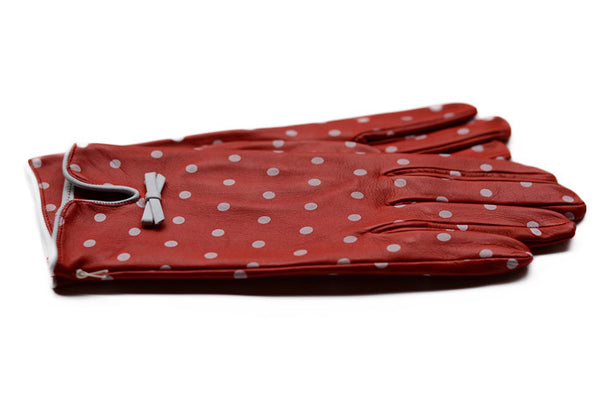 Womens Red Leather Gloves with white dots-buy gloves online