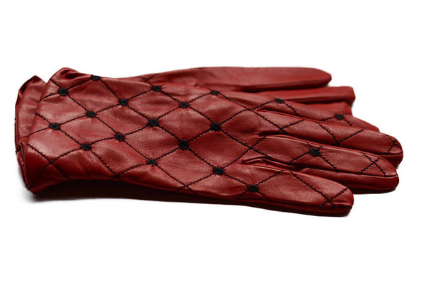 Red Ladies Leather Gloves-Black stitching-cashmere lined