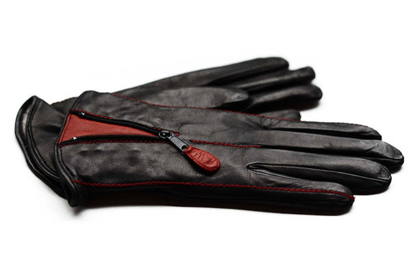 Womens winter leather gloves from Italy-Black gloves with a red panel-buy gloves online