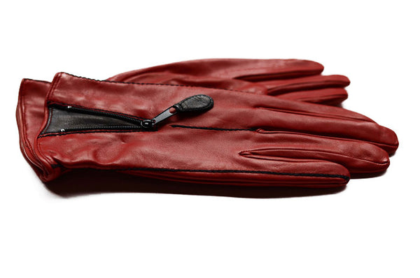 Womens Italian Leather Gloves - Red gloves with a black panel-fashion gloves