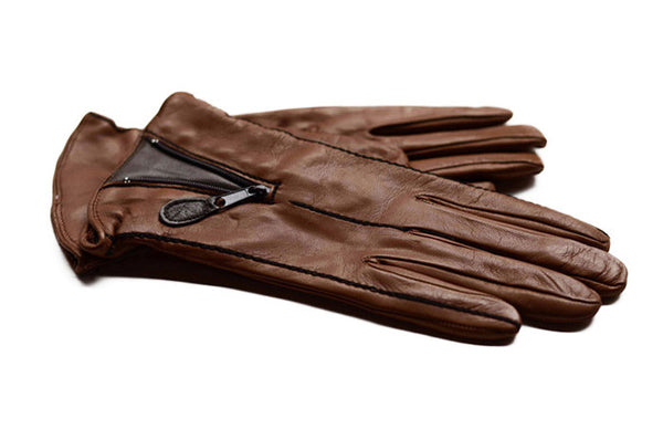 Ladies Italian Leather Gloves- Tan with a brown panel-winter silk lined gloves-buy online