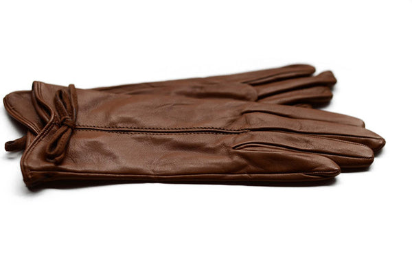 Womens Tan Leather Gloves-designed and made in Italy