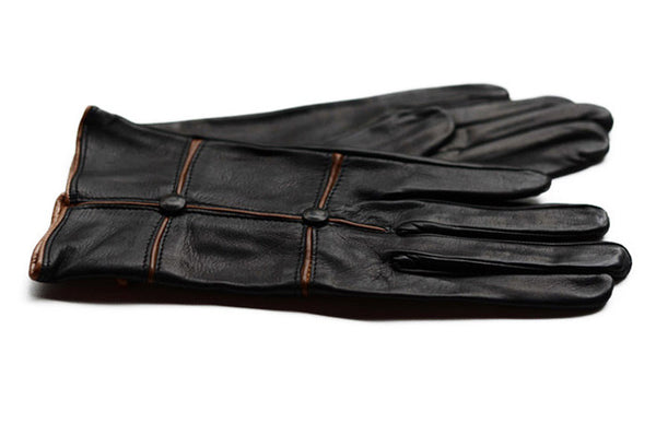 Ladies Italian Leather Gloves-Black gloves with beige trim