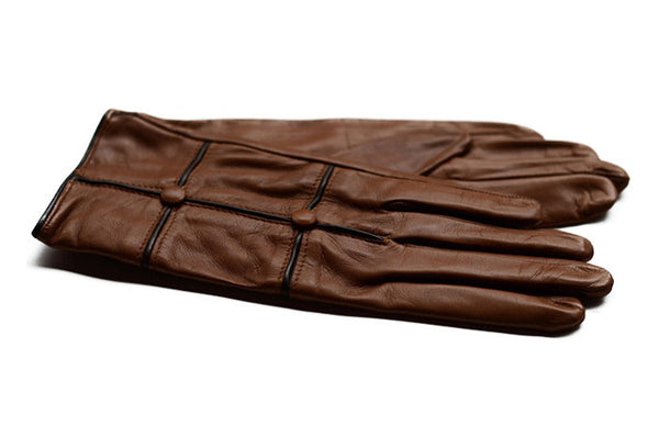 Womens Leather Gloves-Tan With Brown-soft leather styled in Italy