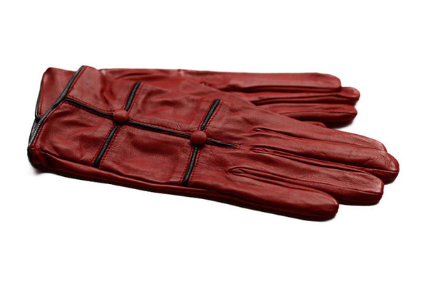 Womens Italian Leather Gloves-Red gloves with black trim