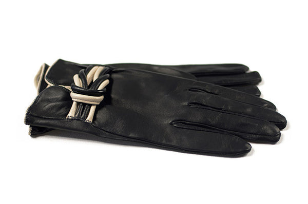 Ladies Black Leather Gloves with white decorative strap