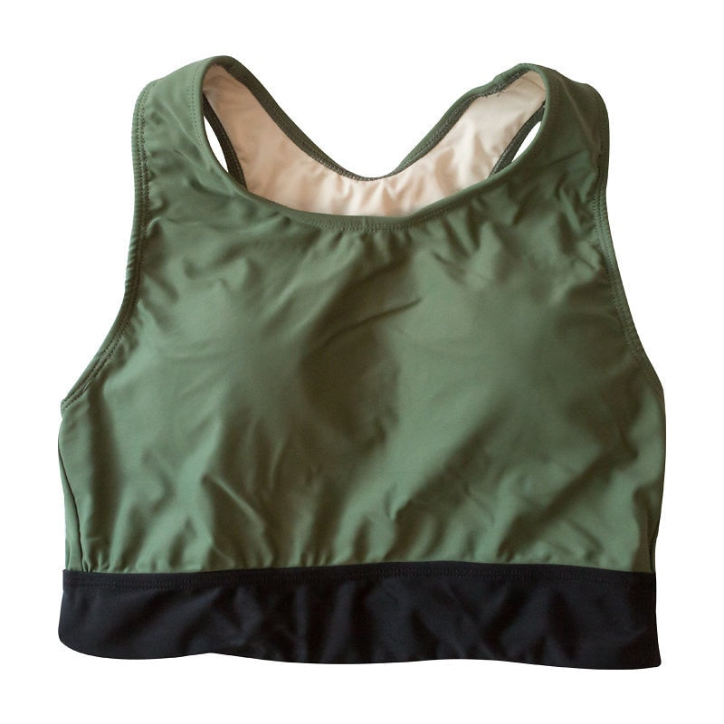 *FINAL SALE* Jenelle Sport Top - Dark Olive / Black