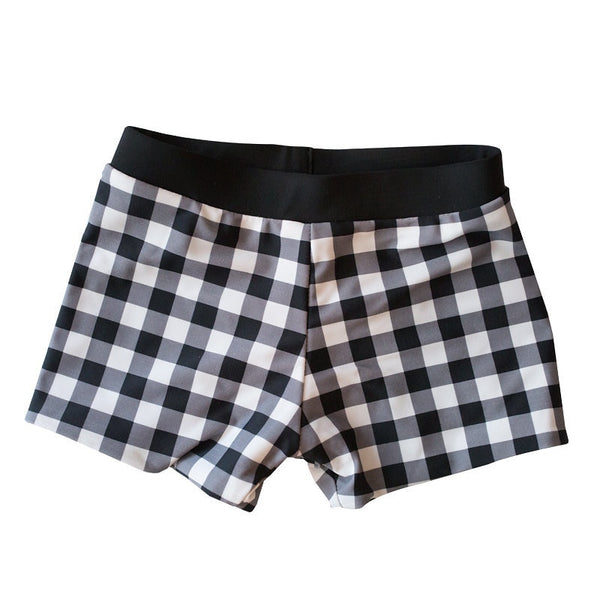 REVERSIBLE Boys Swim Shorties - Black Gingham / Dark Olive